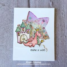 Lawn Fawn Critters Ever After / Puffy Stars dreamy scene for a birthday card | by lexa_levana