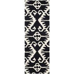 Safavieh black and ivory wool runner rug 9'