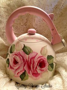 shabby roses teapot teapots kitchen decor by CottageDesignStudio