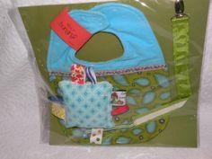 Baby Bib Chenille Ribbon Teething Toy Pacifier by CoffeeKidsNDolls, $13.95