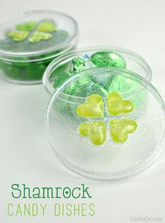 Shamrock heart candy dish St. Patrick's Day easy craft www.clubchicacircle.com
