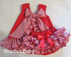 Red Gingham Check Ruffled Pinafore and Sassy Pants Diaper Cover Bloomers. $68.00, via Etsy.