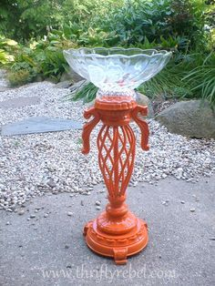 Easy to make birdbath out of a vintage lmap