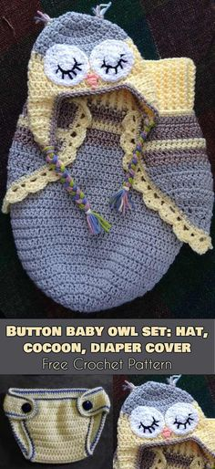 Button Baby Owl Set: Hat, Cocoon, Diaper Cover [Free Crochet Pattern] Follow us for ONLY FREE crocheting patterns for Amigurumi, Toys, Afghans and many more! #crochet