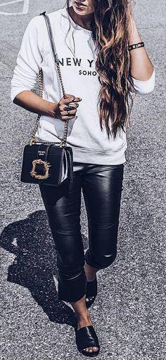 street style addict / printed sweatshirt bag leather skinnies shoes