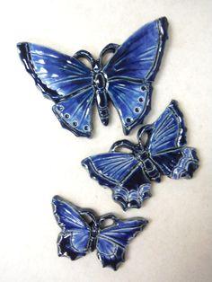 Handmade Ceramic Tiles BUTTERFLY Navy Blue by HouseofWhisperingFir, $14.50