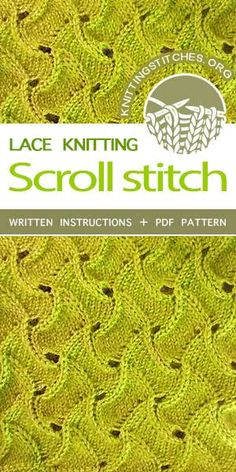 The Scroll Lace stitch would be great to for afghans, stoles or table runners Stitches -- Lace Knitting Pattern. The Scroll Lace stitch would be great to for afghans, stoles or table runners. Lace Knitting Stitches, Knitting Blogs, Crochet Stitches Patterns, Lace Patterns, Loom Knitting, Knitting Designs, Knitting Needles, Stitch Patterns, Vogue Knitting