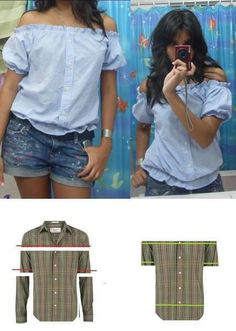Refashion of a men's button front shirt into a cute women's off-the-shoulder blouse.