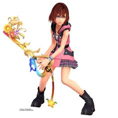 If you've been eagerly anticipating the long-awaited arrival of Kingdom Hearts III, rest assured that Kairi is just as ready to whip up on some Heartless. To prove it, Square Enix shared some new art Kingdom Hearts 3 Kairi, Kingdom Hearts Fanart, Kairi Cosplay, Sora And Kairi, Heart Party, 3d Girl, Disney And Dreamworks, New Art, Character Design