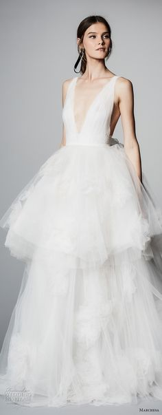 marchesa spring 2018 bridal sleeveless deep v neck lighly embellished bodice ruffled tulle skirt romantic ball gown wedding dress open v back chapel train (03) mv zv -- Marchesa Bridal Spring 2018 Wedding Dresses