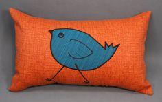 Orange Decorative Pillow with Teal Bird Design made by LenkArt