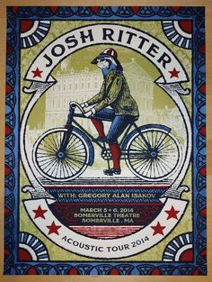 "Josh Ritter - silkscreen concert poster (click image for more detail) Artist: Nate Duval Venue: Somerville Theatre Location: Somerville, MA Concert Date: 3/5-6/14 Size: 18"" x 24"" Edition: Artist Proof"