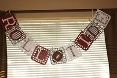 Alabama Roll Tide Sparkle Banner Free Shipping by SoFilledWithLove, $20.00  This spirited banner is the perfect accent for any Alabama fan's football party, tailgate, or home décor! The banner is crafted from crimson, black, pearl, and hounds tooth cardstock and scrapbook paper and is connected by decorative ribbon.