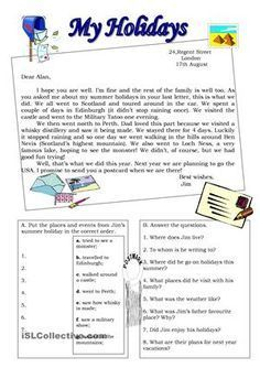"""Reading comprehension on the topic """"Holidays"""". Hope it helps! Have a wonderful week! :D - ESL worksheets English Grammar Worksheets, Grammar Lessons, English Vocabulary, English Reading, English Writing, Teaching English, English Today, Learn English, Reading Comprehension Worksheets"""