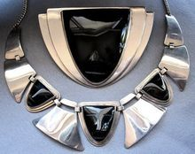 Fred Davis Mexican Obsidian  Sterling Silver Large  Face Mask Pin w/Bonus Necklace from Miss Anna Mae's Jewelry Box on Ruby Lane