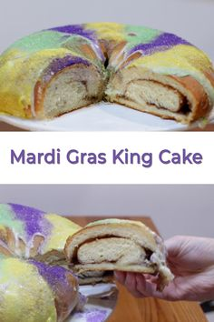 Looking forward to Mardi Gras? Are you throwing a party and need a king cake? This Mardi Gras king cake is super easy to make and tastes fantastic! Donut Recipes, Cake Recipes, Dessert Recipes, Yummy Recipes, Desserts, Chocolate Donuts, Chocolate Recipes, King Cake Recipe, New Orleans Recipes