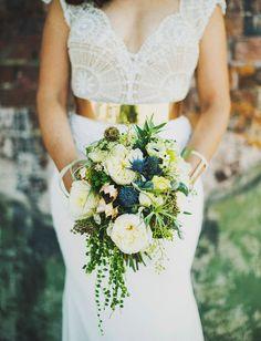 Blue + ivory bouquet