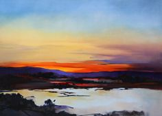 Sunset on Lake-120x90cm - Sara Paxton Artworks