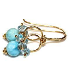Caribbean Larimar Earrings Sky Blue Topaz Gold Wire by FizzCandy
