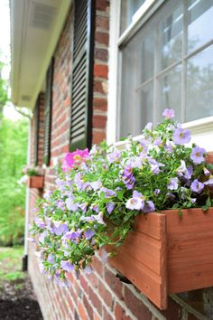 """""""cheaper and already grown in"""" trick = buy two hanging baskets from a local nursery and put them in the box instead of little potted planted for gardening"""