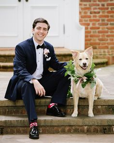 This pup was ready for his close-up. We love the floral wreath local created to complete his adorable wedding look. Photo by Dog Wedding, Wedding Looks, Wedding Day, Vineyard Wedding Venues, Southern Weddings, Got Married, Pup, Floral Wreath, Romantic