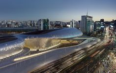 Dongdaemun Design Plaza in Seoul, Korea by Zaha Hadid Architects.
