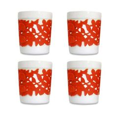 Ceramic Cup with Silicon Sleeve - Set of 4 (Red)