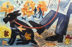 <b>Mark Hearld (Scottish b.1974)</b> <br  /> 'Footsteps in Autumn' <br  /> mixed media collage, signed and dated 2010 lower right <br  /> 25 1/2 x 40in. (64.75 x 101.5cm.) <br  />
