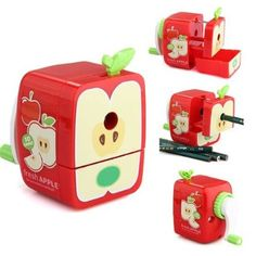 SODIAL(R) Pencil Sharpener Hand Crank Manual Apple Shape School Stationery Kids Gift