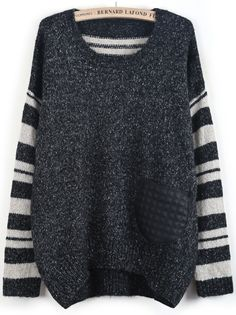 Black Contrast Striped Long Sleeve Dipped Hem Sweater US$32.99