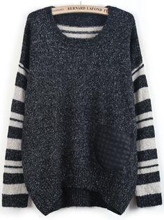 Black Contrast Striped Long Sleeve Dipped Hem Sweater US$32.99