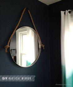 Shore Society: DIY: Nautical Rope Mirror Tutorial uses Ikea mirror to replicate Restoration Hardware mirror Rope Mirror, Ikea Mirror, Diy Mirror, Mirrors, Restoration Hardware Mirror, Kura Ikea, Nautical Bathrooms, Bathroom Wallpaper, Diy Craft Projects