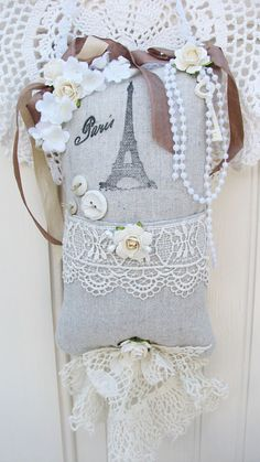 Rustic & Shabby Paris Sachet-sachet,pillow,canvas,handmade,gift,roses,cottage,natural,crochet,paper,key,buttons,lace,vintage,binding,ink,ribbons,pearls,
