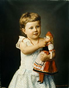 Antique Painting of a child with her doll,wearing traditional dress .... Girl is Olga Graupenstein ,painted by her grandfather, Friederich Wilhelm Graupenstein