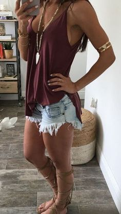#summer #fashion burgundy + denim