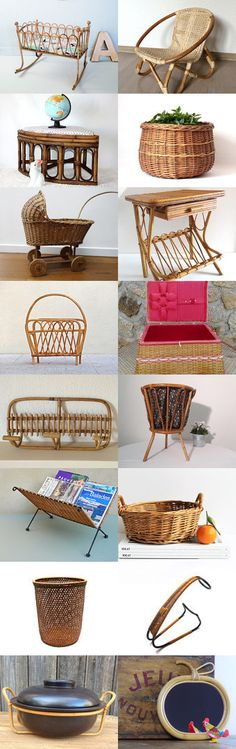 Rattan furniture from the French Vintage Team by Laura on Etsy--Pinned with TreasuryPin.com