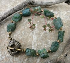 Rough Green Apatite Bracelet, teal raw stone and brass jewelry