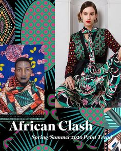 African Clash -Spring/Summer 2020 Print & Pattern Trend - Stylised florals and bold African patterns clash in bright colour combos for this vibrant Spring/Su - Latest Fashion Design, 2020 Fashion Trends, Spring Fashion Trends, Fashion 2020, E21, Fashion Forecasting, Summer Prints, Summer Patterns, Moda Emo