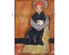 Saint Bernadette with Sheep  Reproduction From Mixed by FlorLarios, $15.00
