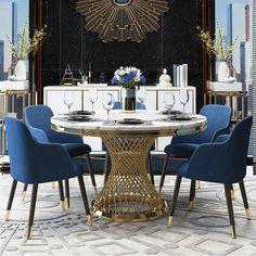 Round Pedestal Dining Table, Modern Dining Table, Dining Room Table, Small Dining, Round Dining Set, Dining Chairs, Dining Table With Bench, Dining Decor, Elegant Dining