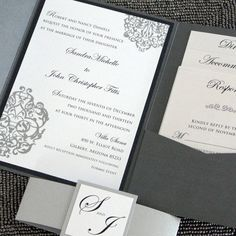 Metallic Pocketfold Wedding Invitation - Black and SIlver Elegant Scrolls Sample