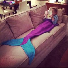 This fun, warm and whimsical mermaid tail blanket is made from soft, machine washable fleece. It pulls over feet and up to chest. This size