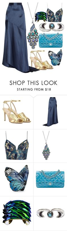 """""""Blue Butterflies"""" by egordon2 ❤ liked on Polyvore featuring Valentino, Michael Lo Sordo, Zimmermann, Mudd, Judith Leiber, Chanel, UNEARTHED, Pamela Love, RedCarpet and Blue"""