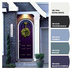 door color Purple Front Doors, Purple Door, Front Door Colors, Front Door Decor, Home Staging, Wood Exterior Door, Exterior Paint, Colonial Exterior, Bungalow Exterior