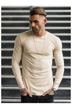 Gym King Longsleeve Fitted T-Shirt - Sand