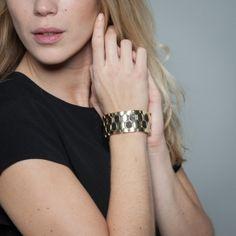 Bracelet élastique doré et noir