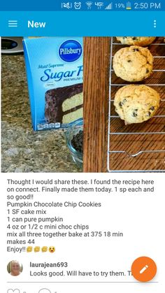 Weight Watchers Sweets Treats Chocolate Chips Ideas For 2019 Weight Watcher Desserts, Weight Watcher Cookies, Weight Watchers Meals, Weight Watchers Muffins, Ww Desserts, Sugar Free Desserts, Sugar Free Recipes, Dessert Recipes, Sugar Free Cake Mix Recipe