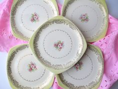 Vintage Paden City Pink Yellow Floral Square Salad by thechinagirl