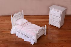 Fleur De Lis Doll Bed and Small Chest