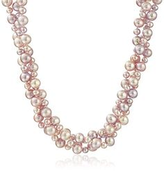 Sterling Silver 48mm Pink High Luster Twisted 3 Rows Cultured Freshwater Pearl Strand Necklace 18 ** Be sure to check out this awesome product.Note:It is affiliate link to Amazon.